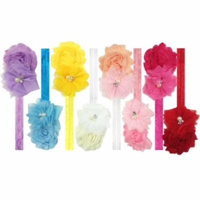 Kella Milla Set of 8 Frayed Shabby Chic Floral Headbands for Baby and Toddler Girls