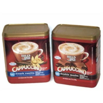 Hills Bros. Cappuccino Sugar Free (2 Pack) 1 French Vanilla and 1 Double Mocha 12 Ounces Each