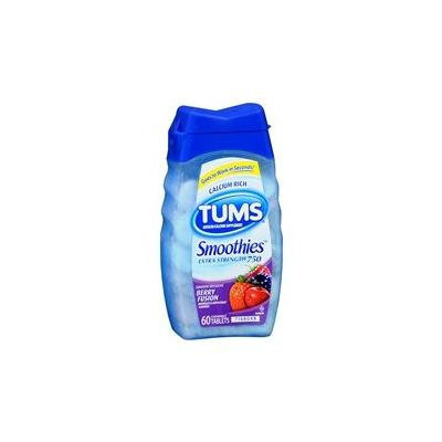 Tums Smoothies Extra Strength 750 Antacid/Calcium Supplement Chewable Tablets Berry Fusion 60.0 ea. (Quantity of 6)