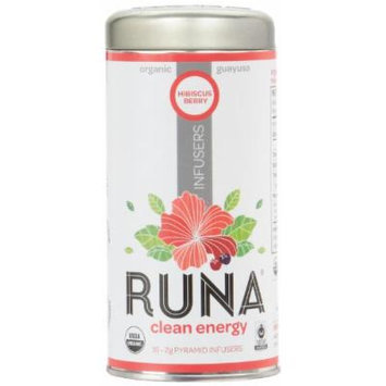 RUNA Amazon Organic Guayusa Pyramid Infusers, Hibiscus Berry Tea, 16-Count Biodegradable Pyramid Infusers