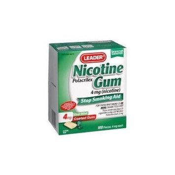 Leader Nicotine Gum 4 mg. Mint, 100 ct. (Compared to Nicorette Gum)