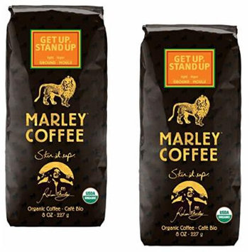 Marley Coffee ~ Organic ~ Get Up Stand Up ~ Ground Coffee 8 oz ~ Light Roast ~ 2 bags