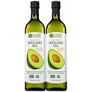 Chosen Foods 100% Avacado Cooking Oil - 1ltr Bottle (33.8fl) (2 Bottles)