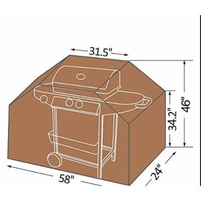 Strong Camel CLASSIC VERANDA CART OUTDOOR BBQ PROTECTOR GAS GRILL Barbeque COVER Tan color Small Size: 58