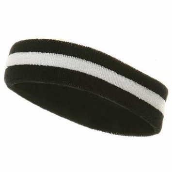 Striped Cotton Terry Cloth Moisture Wicking Head Band (Navy/White)