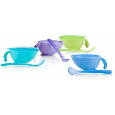 Non-Skid Feeding Bowl with Lid, Handle, and Spoon