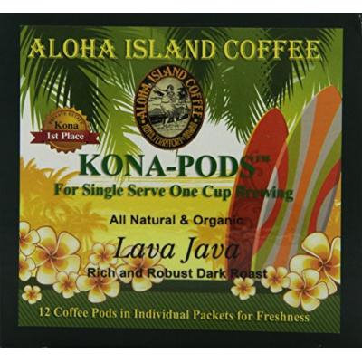 Aloha Island Coffee KONA-POD, Lava Java Dark Roast, Kona & Hawaiian Coffee Blend, 12-Count Coffee Pods