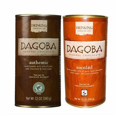 Dagoba Organic Rainforest Alliance Certified Drinking Chocolate 2 Flavor Variety Bundle: (1) Dagoba Authentic Drinking Chocolate, and (1) Dagoba Xocolatl Drinking Chocolate, 12 Oz. Ea.