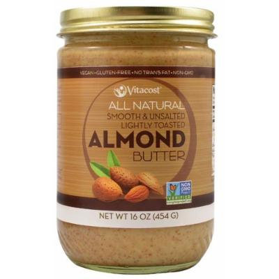 Vitacost All Natural Smooth & Unsalted Lightly Toasted Almond Butter 16 oz