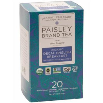 Paisley Tea Organic Decaf English Breakfast, 20-Count