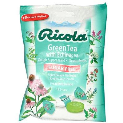 Ricola Sugar Free Green Tea Cough Drops with Echinacea - 19 Drops - Case of 12 - Pack Of 12