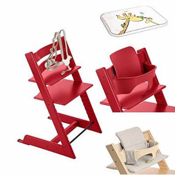 Stokke - Tripp Trapp - Red High Chair, Red Baby Set, Grey Loom Cushion & Table Top