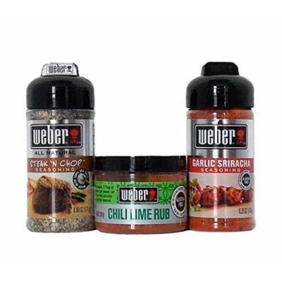 Weber All Natural Gluten-Free Seasoning Blend And Rub 3 Flavor Variety Bundle: (1) Weber Garlic Sriracha Seasoning Blend, (1) Weber Chili Lime Rub, and (1) Weber Steak 'N Chop Seasoning Blend, 4.5-6.2 Oz. Ea. (3 Total)