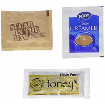 Coffee On The Go Bundle! - 100% Honey Packets, Njoy Coffee Creamer Packets, Sugar In The Raw Packets & Stir Sticks - Great To Have On Hand Coffee Condiments!