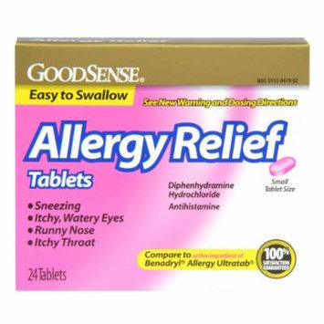 GoodSense Allergy Relief, Diphedryl Allergy 25mg Tablets, 24 Count