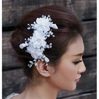 Nero Women's Handmade Elegant Bridal Wedding Hair Accessories with Satin Flowers, Pearls & Rehinestones Decorated