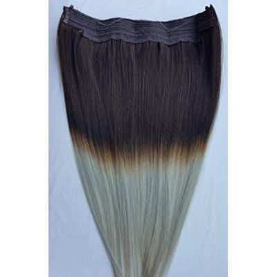 18inches 100% Human Hair Extensions, Halo Style (ONE PIECE NO CLIP) with an adjustable invisible wire (Fishing String) # T2/Ash Silver Gray (beige blonde based)