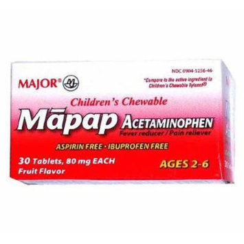 Mapap Childrens 80mg Chewable Fruit Flavor, 30 CT - Compare toChildren's Tylenol Chewables