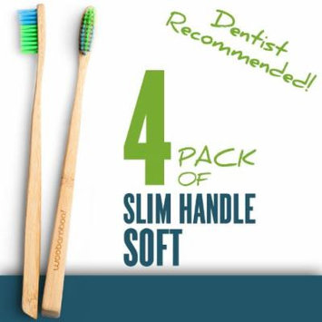 Woo Bamboo SLIM Toothbrush With SOFT Bristles - Family FOUR PACK