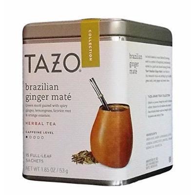 Tazo Grand Tour Collection Brazilian Ginger Mate' Herbal Tea Blend Tin, 15 Full-Leaf Sachets, 1.85 Oz.