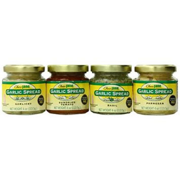 Chez Jane Garlic Spread (Garlicky, Sun Dried Tomato, Parmesan and Basil), 16-Ounce (Pack of 4)