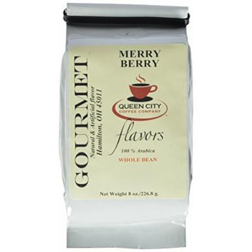 Queen City Merry Berry Flavored Whole Bean Coffee, 8-Ounce Bags (Pack of 3)
