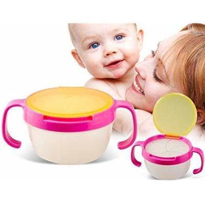 Leakproof Baby Snack Bowl Biscuits Cup Baby Cup with Handle (Pink) by Preciastore