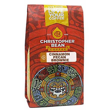 Christopher Bean Coffee Decaffeinated Whole Bean Flavored Coffee, Cinnamon Pecan Brownie, 12 Ounce