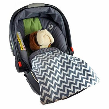 Car Seat Blankie Zig Zag (Grey) - Universal Blanket for Car Seats, Beautiful Patterns, Handmade in USA.