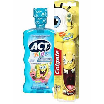 Spongebob Squarepants Battery Powered Turbo Spin Brush & ACT Anticavity Kids' SpongeBob Mouthwash, 16.9 oz