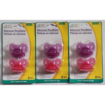 Silicone Pacifiers Multi Pack - 2 Pcs in a Pack, Purple and Pink