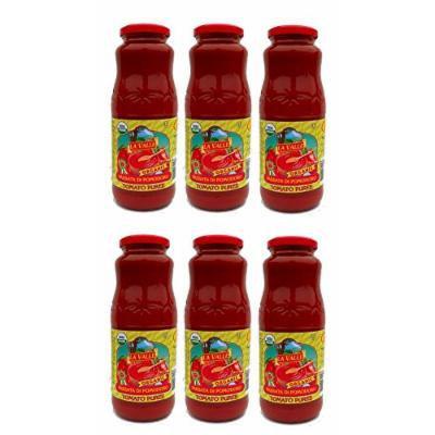 La Valle: Tomato Puree Organic and Kosher with Basil - Net Weight 24 Oz.- 6 Glass Jars