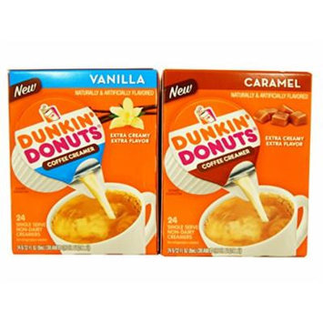 Dunkin' Donuts Non Dairy Creamer Variety 2 Pack Single-Serve With 1 Vanilla, 1 Caramel