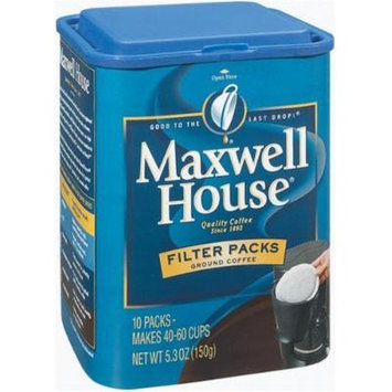 Maxwell House Filter Packs Ground Coffee, 10-Count Canisters (Pack of 6)