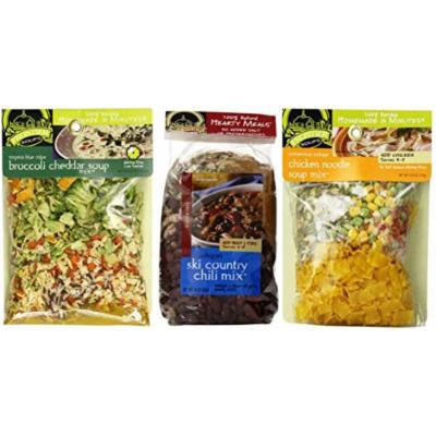 Frontier Soups 100% Natural Homemade In Minutes Gluten-Free Soup Mix 3 Flavor Variety Bundle: (1) Michigan Ski Country Chili Mix, (1) Virginia Blue Ridge Cheddar Broccoli Soup Mix, and (1) Connecticut Cottage Chicken Noodle Soup Mix, 4.5-15 Oz. Ea.