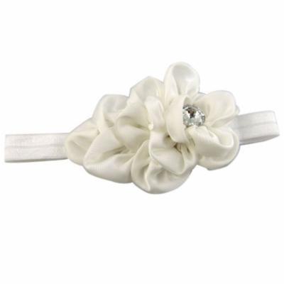 Generic Baby Girls Chiffon Headband Hairbow Head Flower Floral Hairband Photography Prop(White)