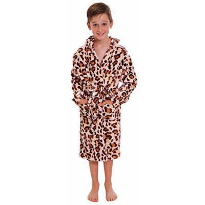 Kid's Plush Robe in Leopard Print, 2- Pockets, Soft Polyester, Dark Leopard, S