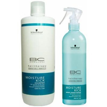 Schwarzkopf Bonacure Moisture Kick Spray Conditioner 13.6oz and Shampoo Liter, DUO