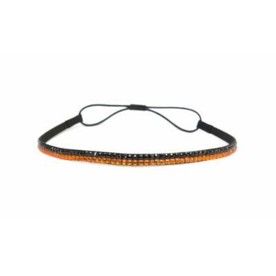 Two Row Bling Rhinestone Headband/ Elastic Stretch/ Rhinestone Hair Band Hair Accessory (Black Orange)