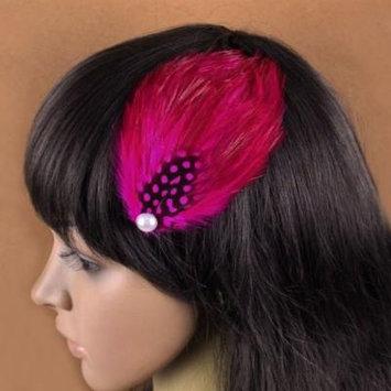 Nero Women's Handmade Feather Fascinator Hair Clips, Fascinator Headpieces (Rose)