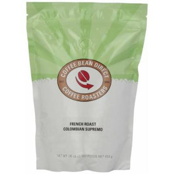 Coffee Bean Direct French Roast Colombian, Whole Bean Coffee, 16-Ounce Bags (Pack of 3)