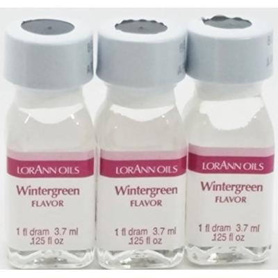 Lorann Flavoring 3 Pack -1 Fl Dram (.125 Fl Oz) + 2 Recipe Card Bundle (Wintergreen)