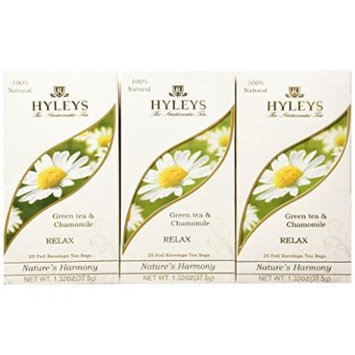 Hyleys Tea Nature's Harmony Green Tea Bags with Chamomile In Foil Envelopes, 1.32-Ounce Packages (Pack of 12)