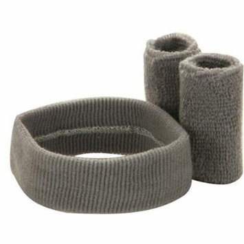 Solid Color Head and Wrist Band Set-Grey