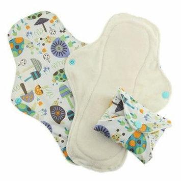 Pink Daisy Organic Cotton Washable Feminine Menstrual Pads - 3 Pack (Large, Snails)