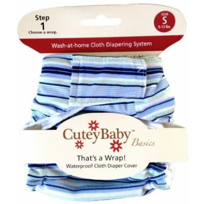 CuteyBaby That's a Wrap Diaper Cover, Blue Stripes, Medium