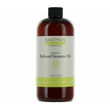 Banyan Botanicals Sesame Oil Refined, Certified Organic, 16 oz - Milder Scent Compared to Unrefined Sesame Oil, Good for Vata and Kapha