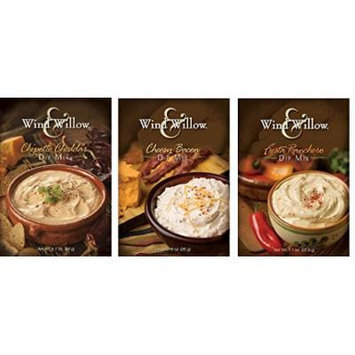 Wind & Willow Dip Mix Variety Pack - Cheesy Bacon, Chipotle Cheddar, and Fiesta Ranchero