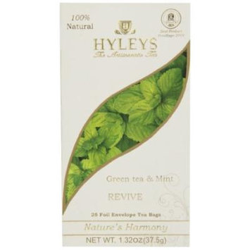 Hyleys Tea Nature's Harmony Green Tea Bags with Mint In Foil Envelopes, 1.32-Ounce Packages (Pack of 12)