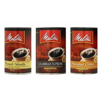 Melitta Coffee Variety Bundle, 11 oz (Pack of 3) includes 1-Can of Hazelnut Creme + 1-Can Colombian Supreme + 1-Can French Vanilla